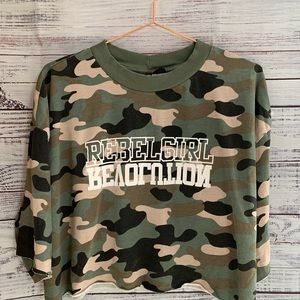 Divided H&M Military Crop Top